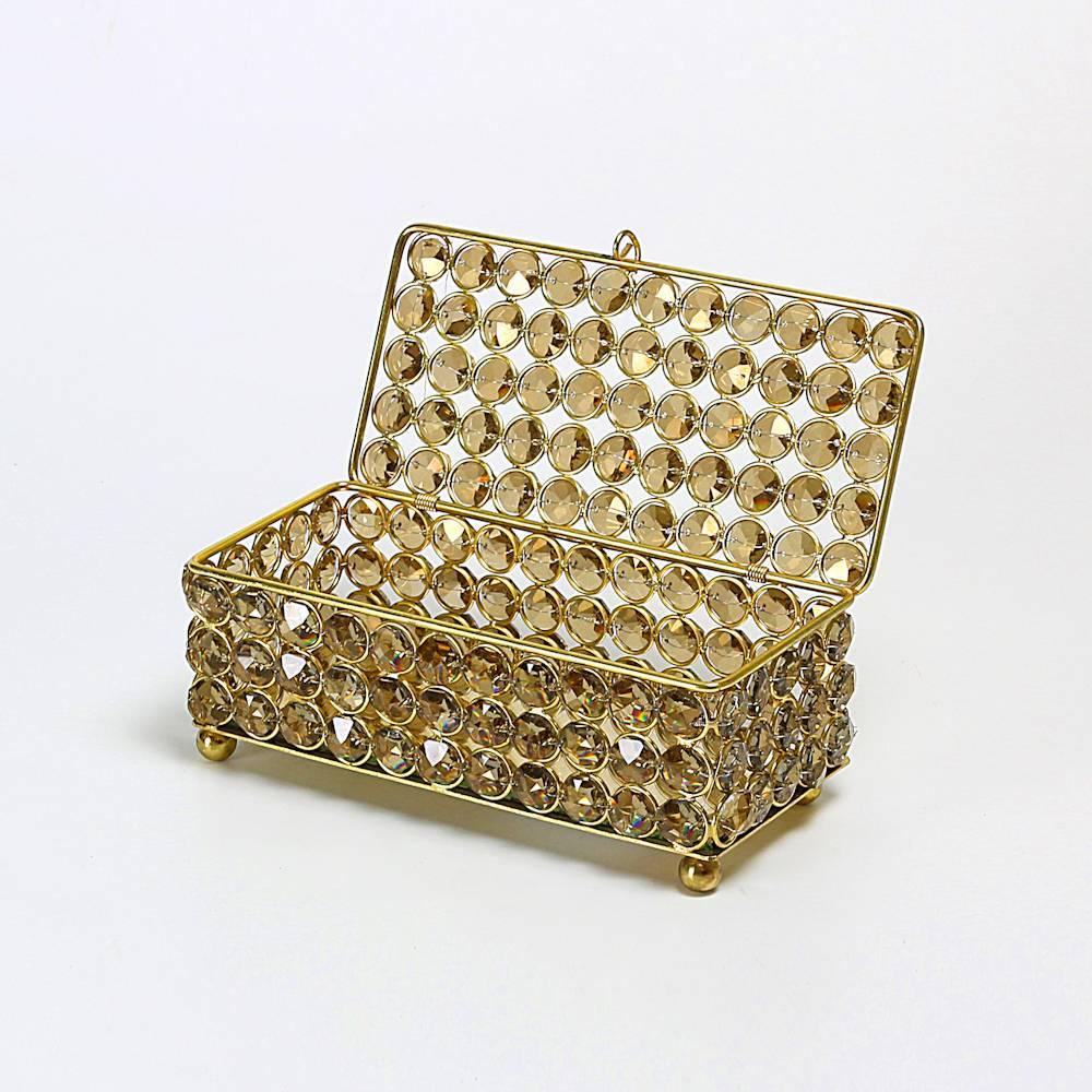Porta-Joias Dourado em Ferro Coberto por Cristais - Delhi Wolff - 19,5x9 cm