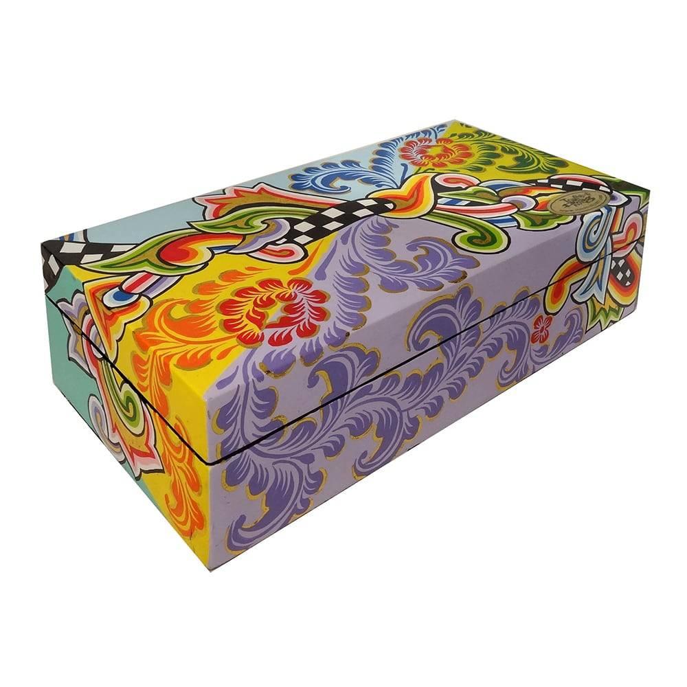 Caixa Retangular com Tampa Multicolorida - 27x8 cm