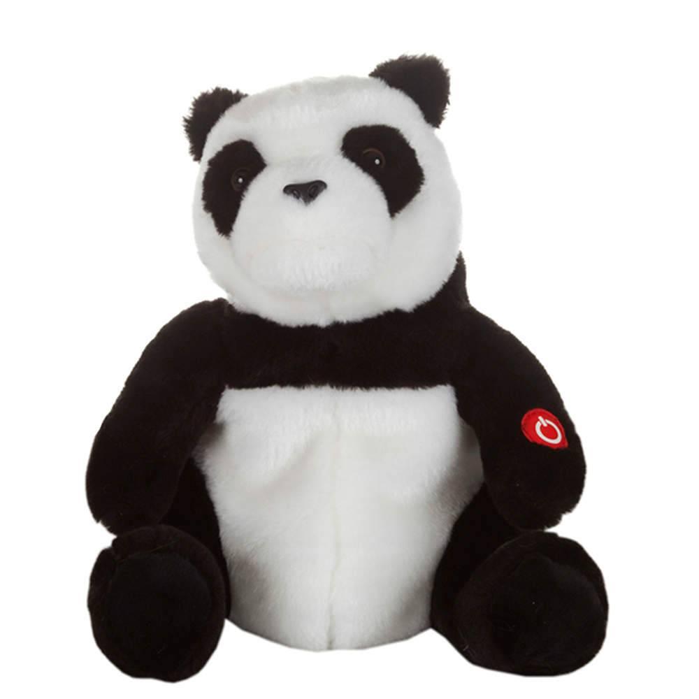 Caixa de Som Animada Pelucia Panda Preto e Branco - Urban - 26x22 cm