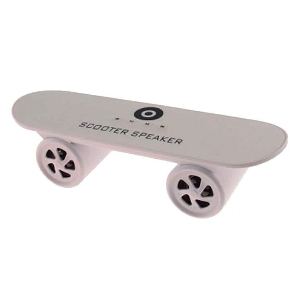 Caixa de Som Skate Branco - FM/ Bluetooth - 25x8 cm
