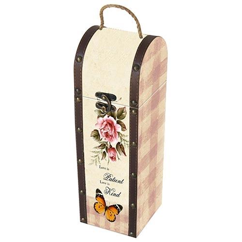 Caixa para Vinho Pássaros e Borboletas Bege em Madeira - 36x11 cm