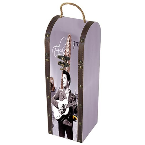 Caixa para Vinho Lilás Elvis Hollywood em Madeira - 36x11 cm