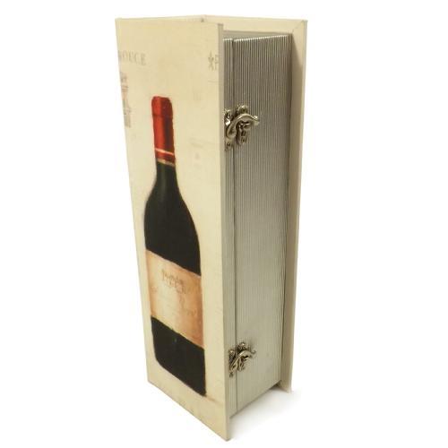 Caixa para Vinho Bege Estampado em Madeira - 35x12 cm