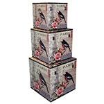 Caixas Box Storage 3 Peças Paris Fullway - 44x44 cm