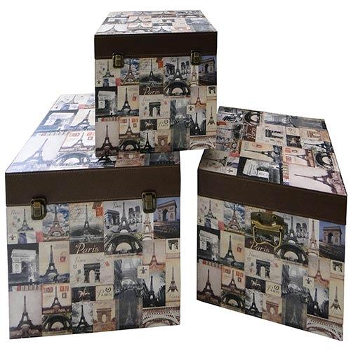 Caixas Box Storage 3 Peças Paris Oldway - 40x40 cm