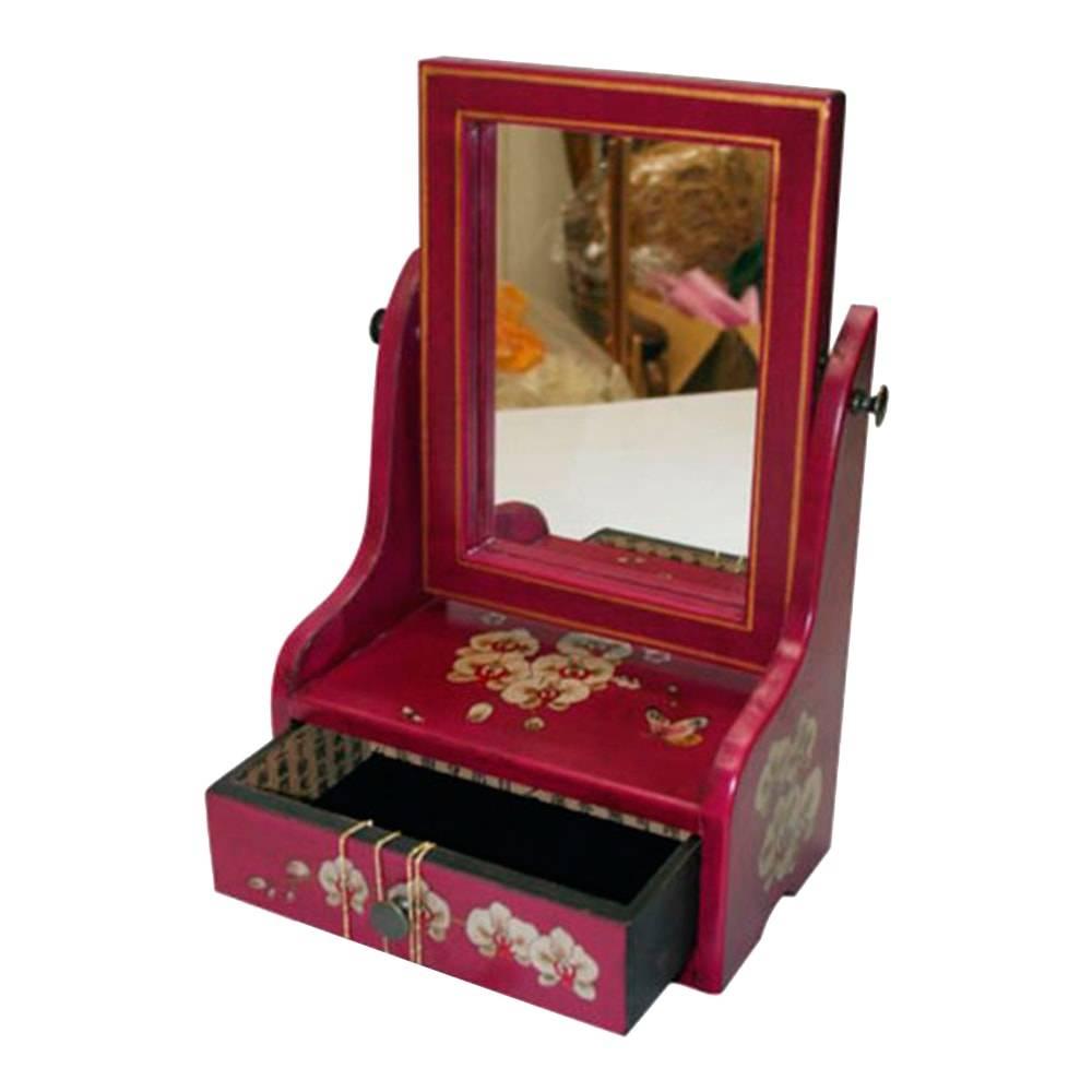 Caixinha Oriental Orquídeas c/ Espelho e Gaveta Rosa em Madeira/Couro - 30x19 cm