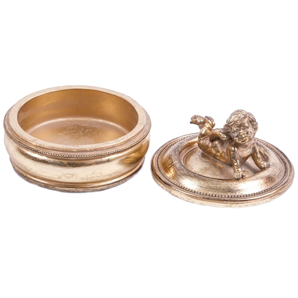 Caixinha Porta Joias Anjinho Deitado Pequena Dourada em Resina - 12x12 cm