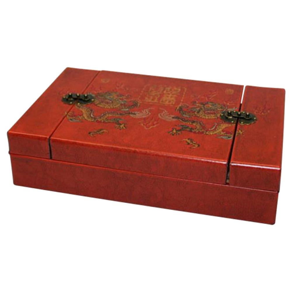 Caixinha Porta Objetos Dragão Vermelha em Madeira/Couro - 28x17 cm