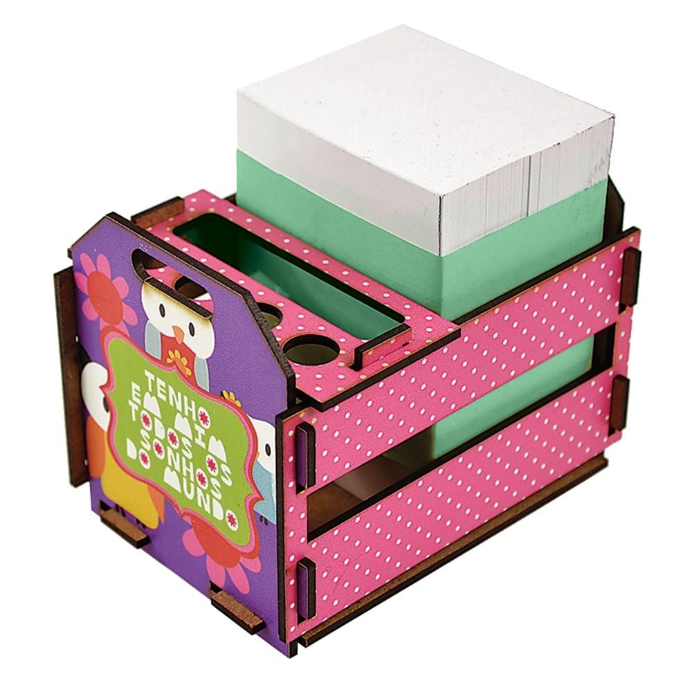 Caixotinho Coruja - Carpe Diem - Rosa em MDF - 12x11 cm