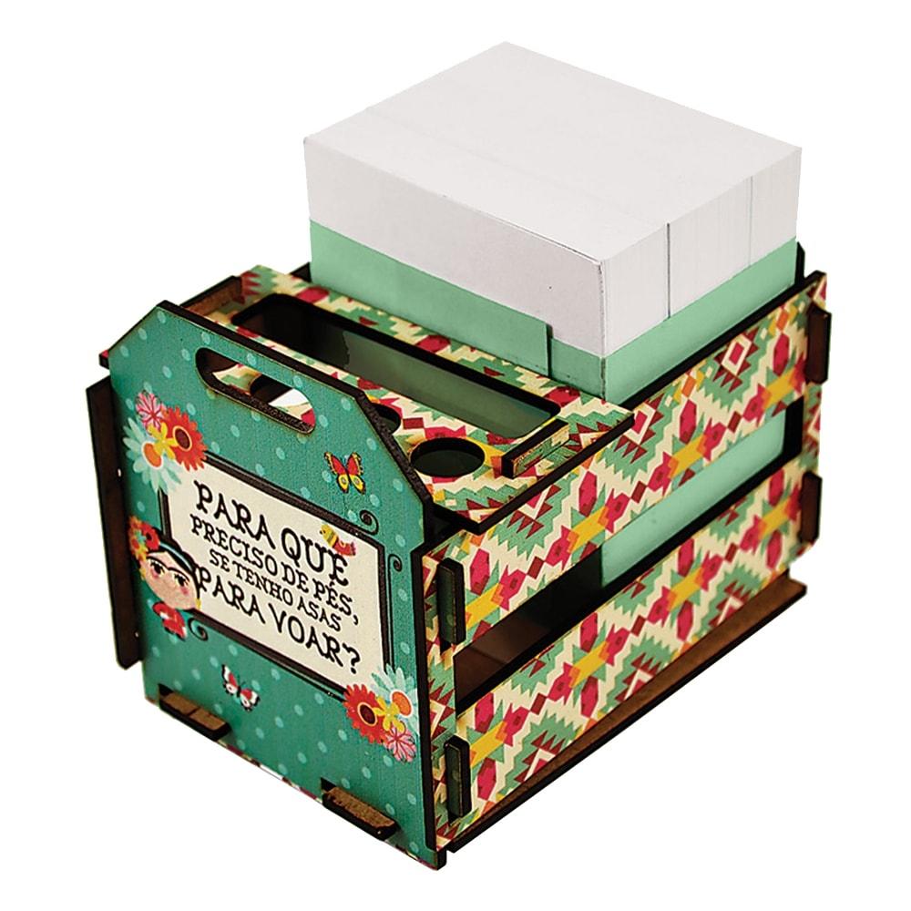 Caixotinho Frida - Carpe Diem - Verde em MDF - 12x11 cm