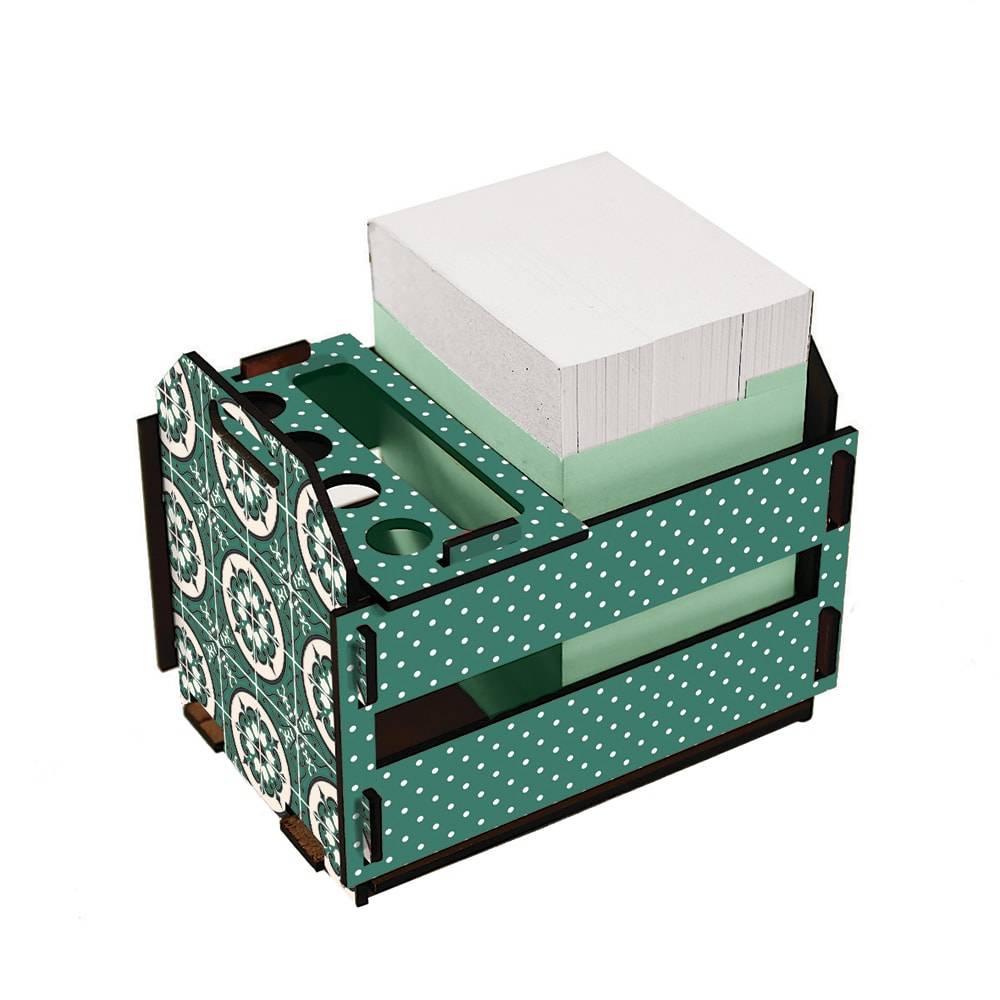 Caixotinho Ladrilhos - Carpe Diem - Verde em MDF - 12x11 cm