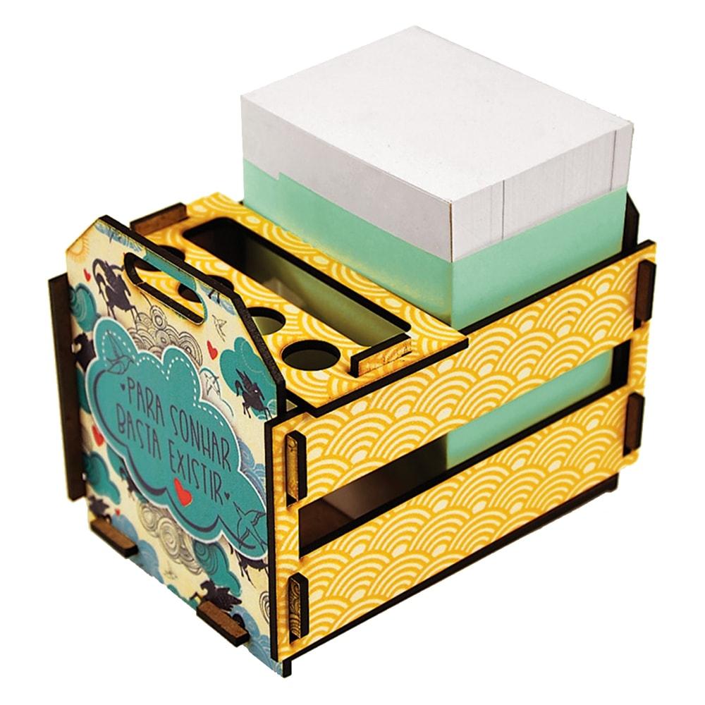 Caixotinho Sonho - Carpe Diem - Amarelo em MDF - 12x11 cm