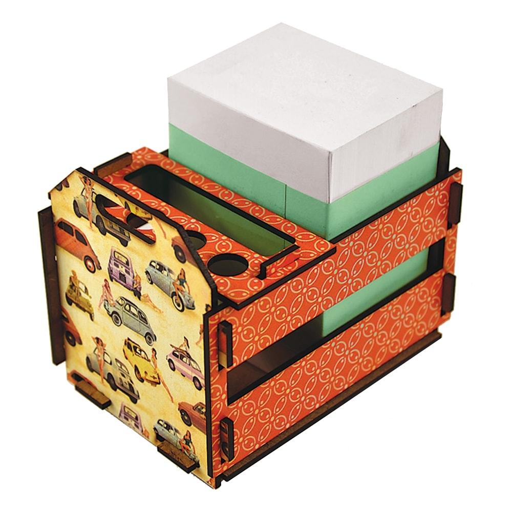 Caixotinho Pinup 500 - Carpe Diem - Laranja em MDF - 12x11 cm