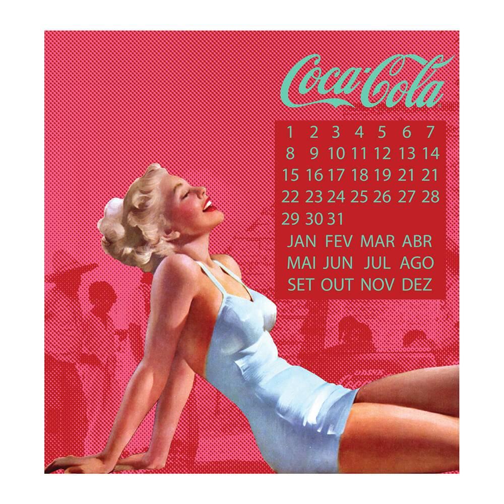 Calendário Magnético Coca-Cola Pin-Up Blond Lady Vermelho em MDF - Urban - 40x40 cm