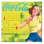 Calendário Magnético Coca-Cola Pin-Up Brown Lady Amarelo em MDF - Urban - 40x40 cm
