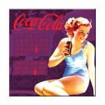 Calendário Magnético Coca-Cola Pin-Up Brown Lady Roxo em MDF - Urban - 40x40 cm