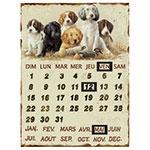 Calendário Placa de Metal Dogs Oldway