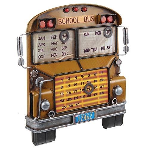 Calendário School Bus Amarelo Oldway em Metal - 34x32 cm