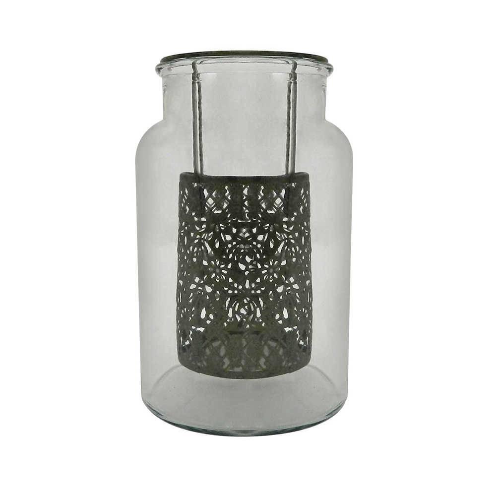 Candeeiro Renda Grande em Metal e Vidro - 26x16 cm