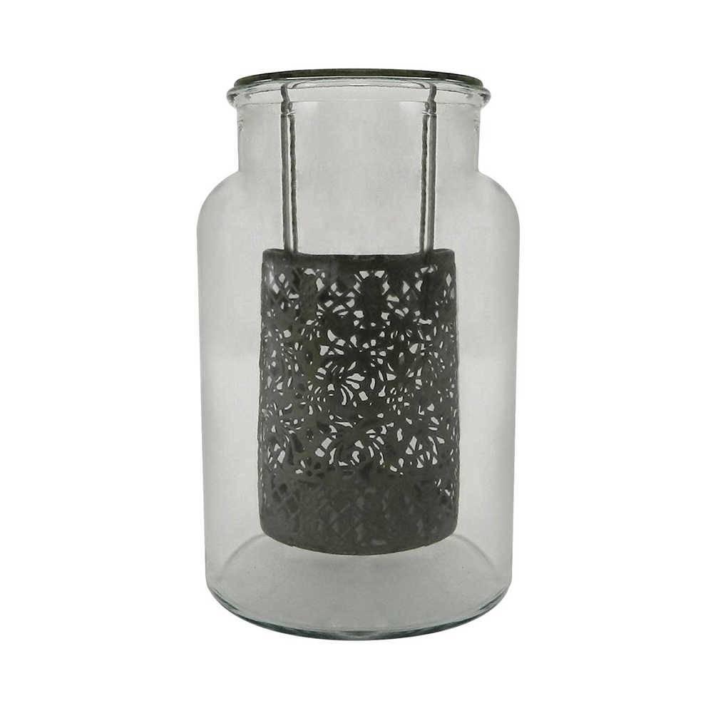 Candeeiro Renda Médio em Metal e Vidro - 26x16 cm