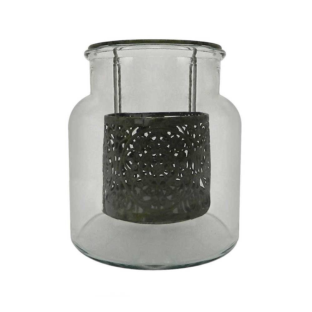 Candeeiro Renda Pequeno em Metal e Vidro - 19x16 cm