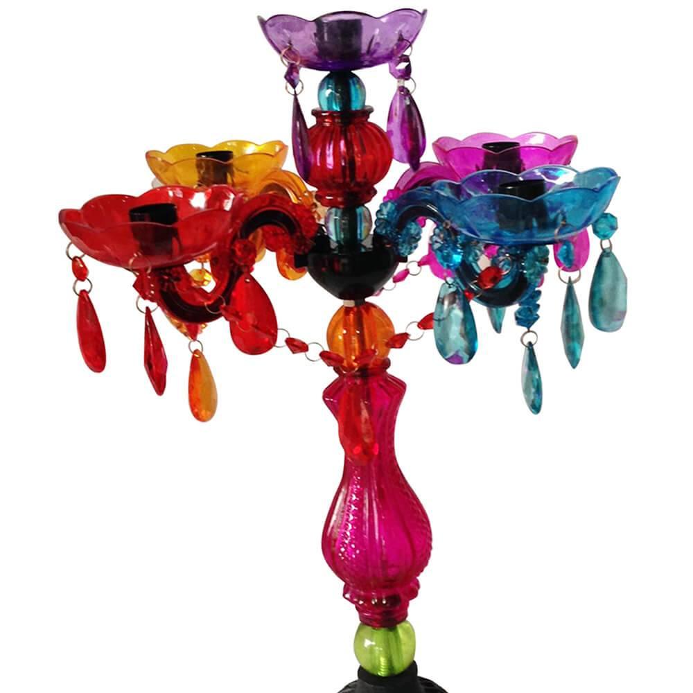 Candelabro 5 Braços Bobeshes Multicoloriodo em Vidro - Urban - 50x27 cm