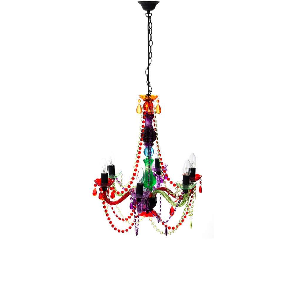 Candelabro 6 Braços Multicolorido em Acrílico - Urban - 59x52 cm