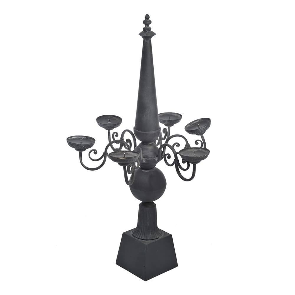 Candelabro Cone - 6 Velas - Preto Fosco em Metal - 95x59 cm