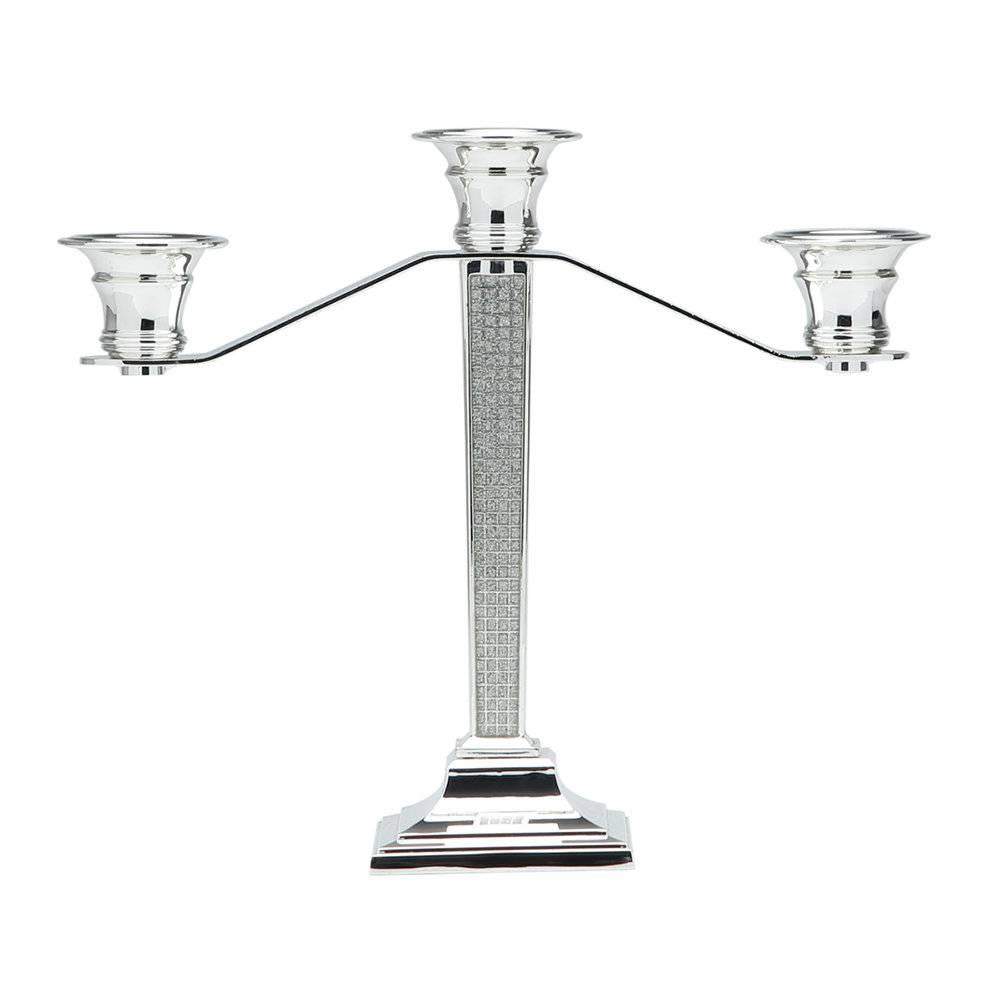 Candelabro Epoxi - para 3 Velas - em Aço - Prestige - 28x8 cm