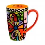 Caneca Alta Borboletas - Romero Britto - Colorida em Cerâmica - 14x9 cm