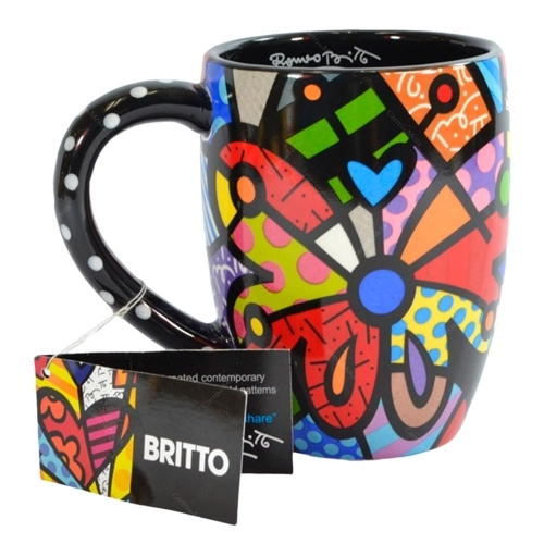 Caneca Butterfly - Romero Britto - em Cerâmica - 13x12 cm