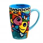 Caneca Azul Peixes - Romero Britto - em Cerâmica - 14x9 cm