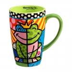 Caneca Verde Sapo - Romero Britto - em Cerâmica - 14x9 cm