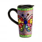 Caneca para Viagem Borboleta Colorida - Romero Britto - em Cerâmica - 16x8 cm