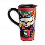Caneca para Viagem Gato Colorido - Romero Britto - em Cerâmica - 16x8 cm