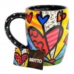 Caneca Coração - Romero Britto - em Cerâmica - 13x12 cm