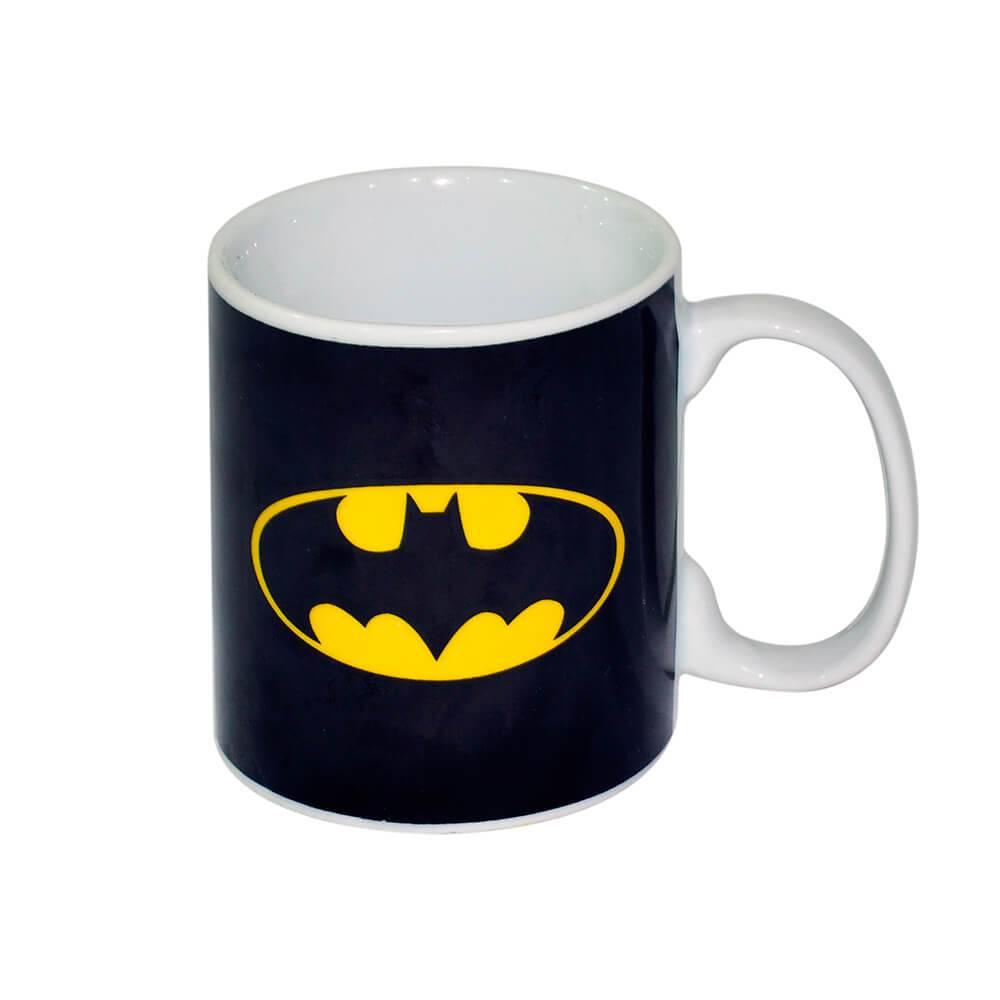 Caneca DC Comics Logo Batman Preta 300 ml em Porcelana - Urban - 9,5x7,8 cm