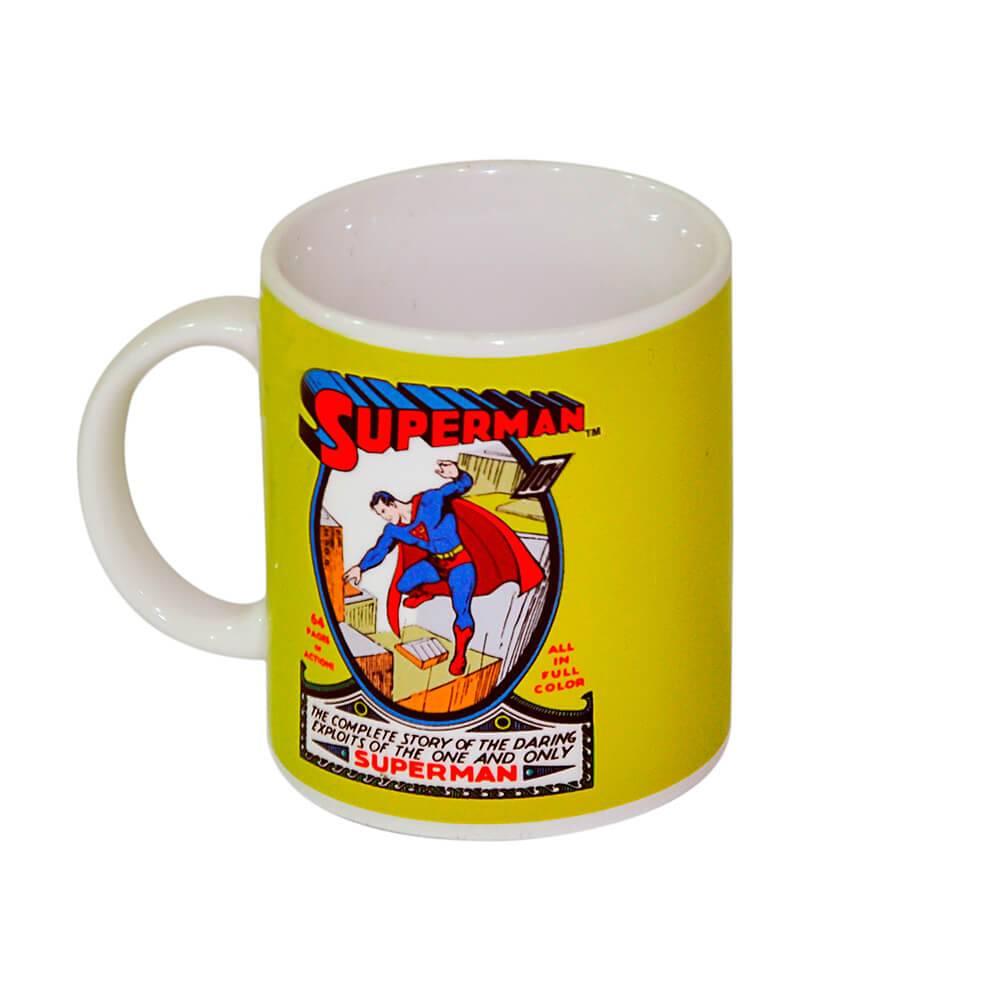 Caneca DC Comics Superman Amarela 300 ml em Porcelana - Urban - 9,5x7,8 cm