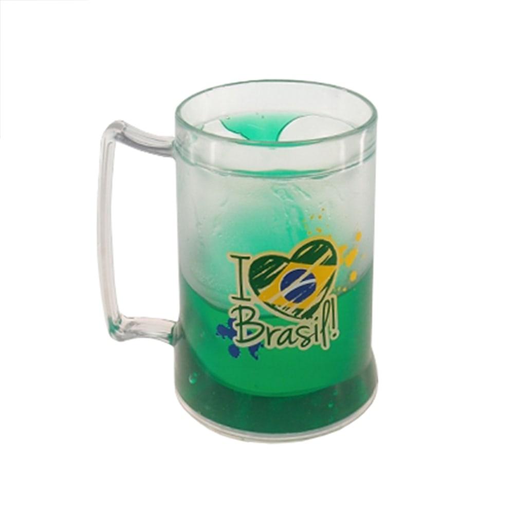 Caneca Eu Amo o Brasil - com Gel Térmico - Verde em Acrílico - 14x12 cm