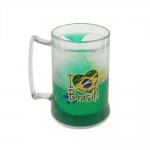Caneca Eu Amo o Brasil - com Gel Térmico - Verde em Acrílico