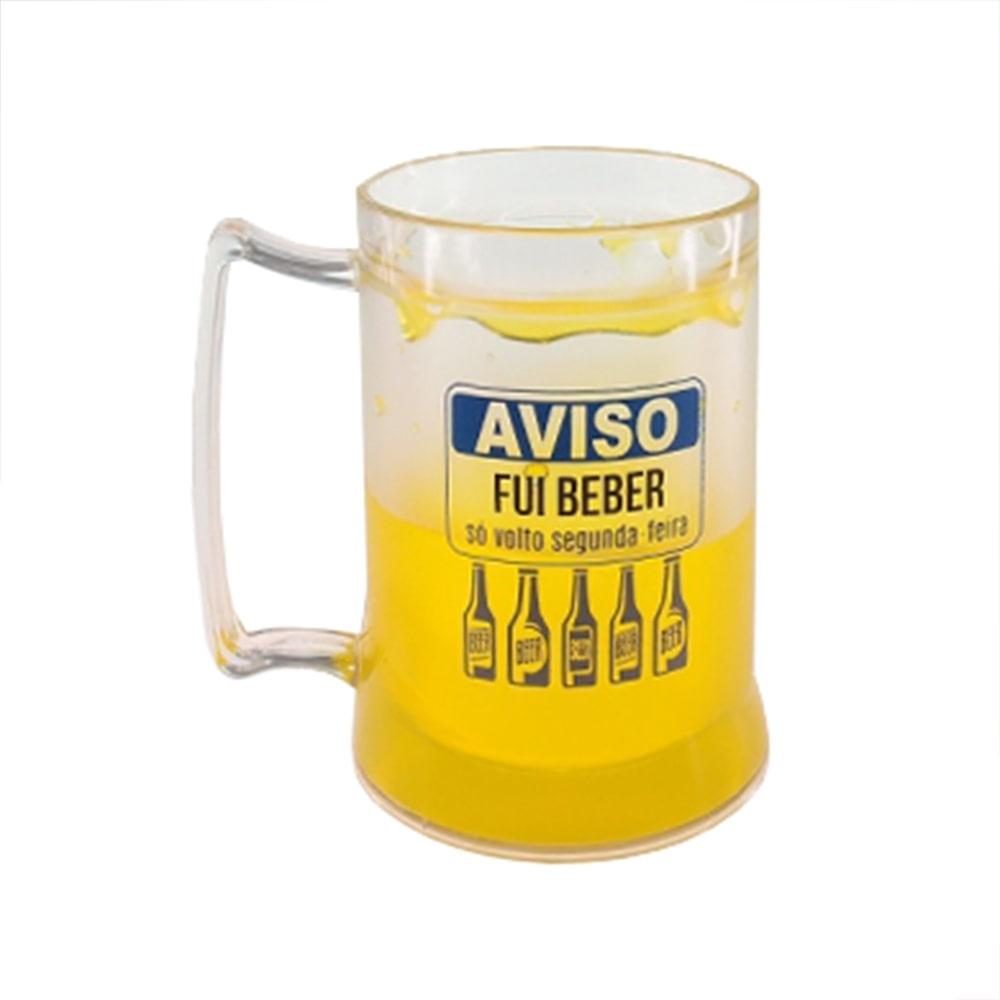 Caneca Fui Beber - com Gel Térmico - Amarelo em Acrílico - 14x12 cm