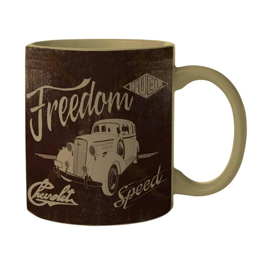 Caneca GM Vintage Car Freedom Marrom em Porcelana - 300 ml - Urban - 9,5x7,8 cm