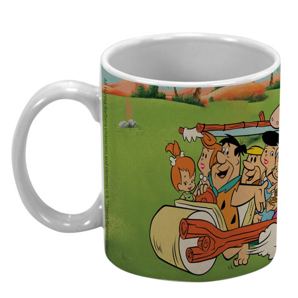 Caneca HB Flintstones Family In a Car Colorida em Porcelana - 300 ml - Urban - 9,5x7,8 cm