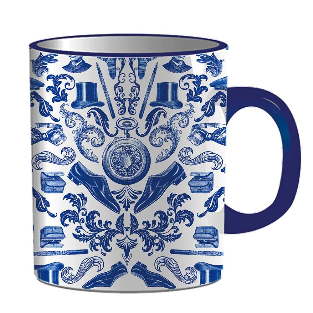 Caneca Indigo Accessories Azul em Porcelana - 300 ml - Urban - 9,5x7,8 cm