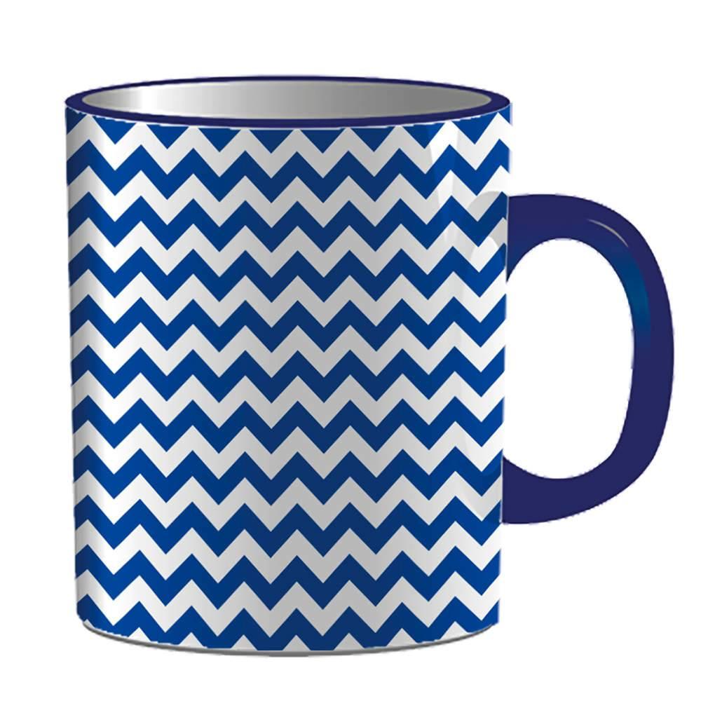 Caneca Indigo Point Triangles Azul em Porcelana - 300 ml - Urban - 9,5x7,8 cm