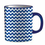 Caneca Indigo Point Triangles Azul em Porcelana - 300 ml - Urban - 9,5x7,8 cm
