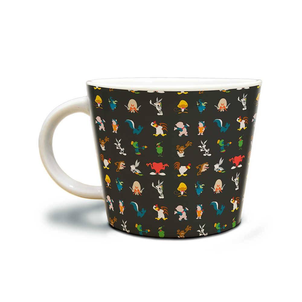 Caneca Looney Tunes All Characters Fundo Preto 320 ml em Porcelana - 13,5x10,5 cm