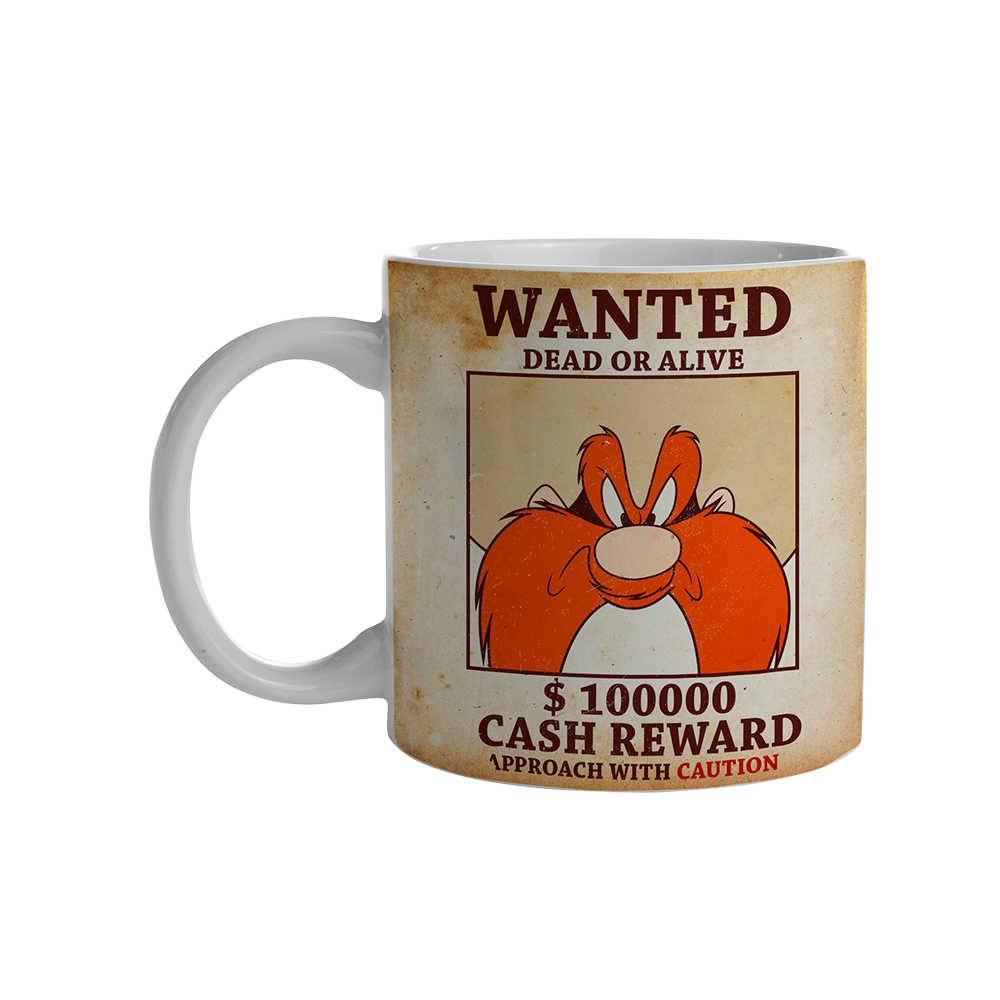 Caneca Looney Tunes Yosemite Wanted Colorido 300 ml em Porcelana - 9,5x7,8 cm