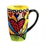 Caneca Alta A New Day - Romero Britto - Colorida em Cerâmica - 14x9 cm