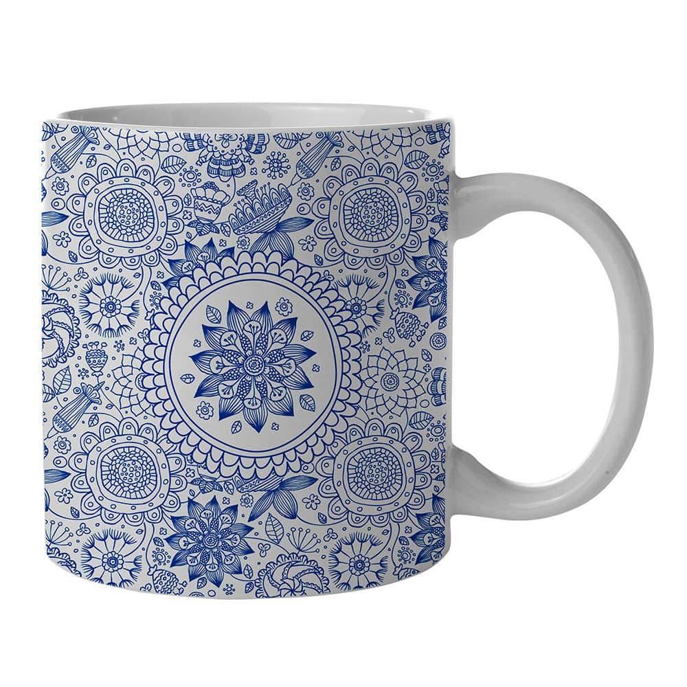 Caneca New Indigo Henna Flower Azul em Porcelana - 300 ml - Urban - 9,5x7,8 cm